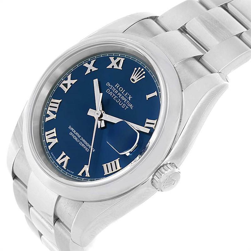 Rolex Datejust 36 Blue Roman Dial Oyster Bracelet Steel Mens Watch 116200 SwissWatchExpo