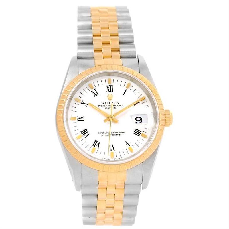 Rolex Date Mens Steel 18k Yellow Gold White Dial Watch 15223 SwissWatchExpo