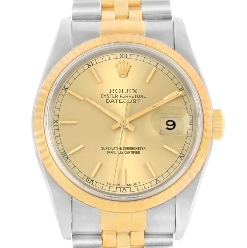 11804 Rolex Datejust Steel 18k Yellow Gold Baton Dial Mens Watch 16233 SwissWatchExpo