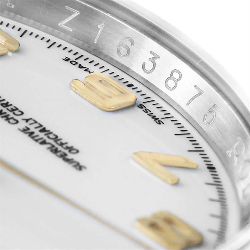 Rolex Datejust Steel Yellow Gold White Arabic Dial Mens Watch 116203 SwissWatchExpo