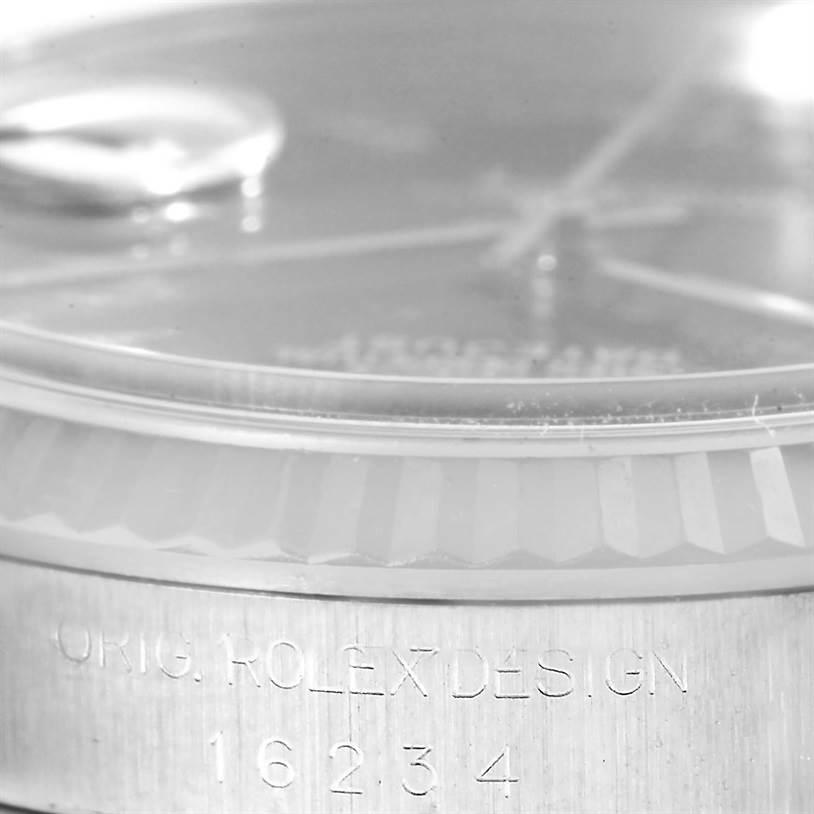 13042 Rolex Datejust Steel 18K White Gold Blue Roman Dial Mens Watch 16234 SwissWatchExpo