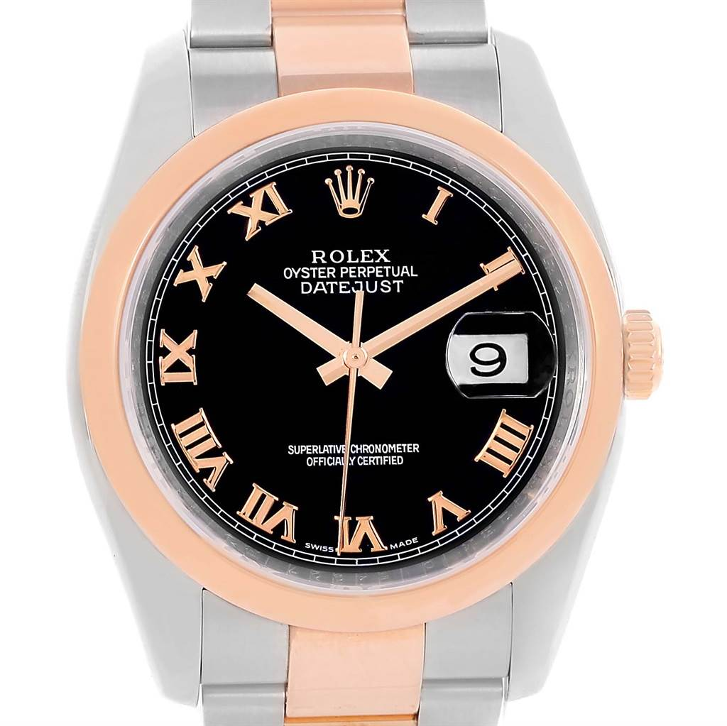 13450 Rolex Datejust Steel 18K Rose Gold Black Roman Dial Watch 116201 SwissWatchExpo
