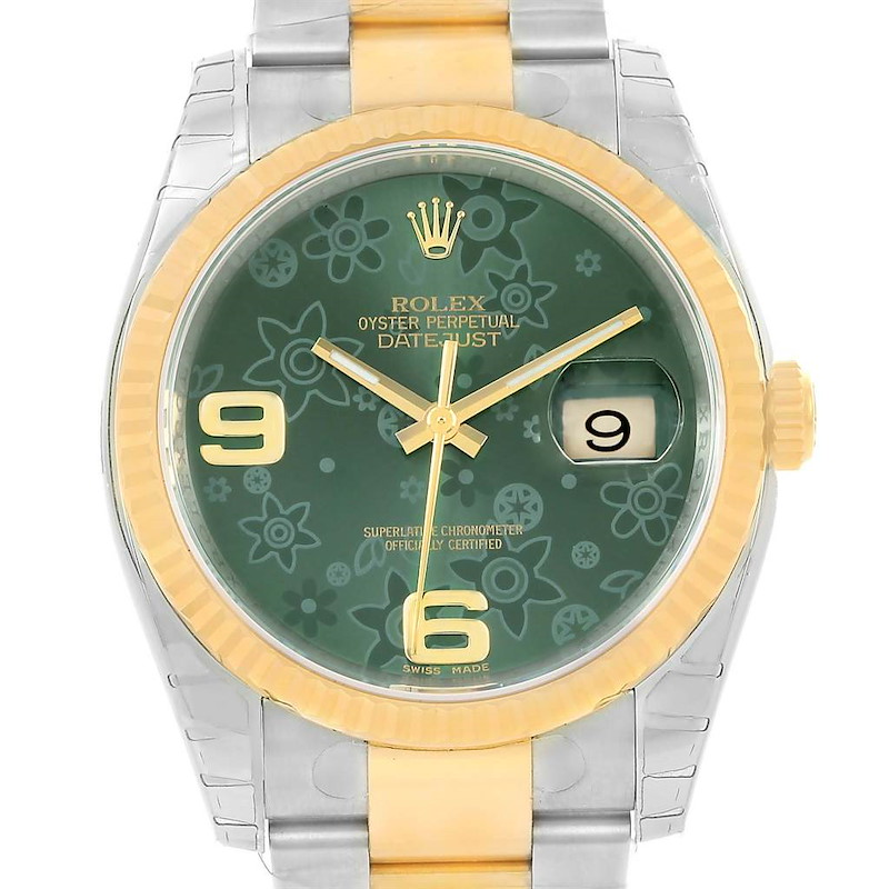 Rolex Datejust Steel Yellow Gold Green Floral Dial Watch 116233 Unworn SwissWatchExpo