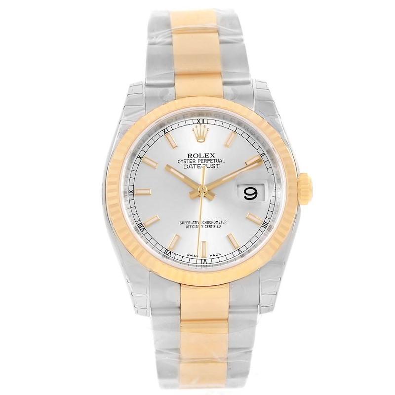 Rolex Datejust Steel Yellow Gold Silver Baton Dial Watch 116233 Unworn SwissWatchExpo