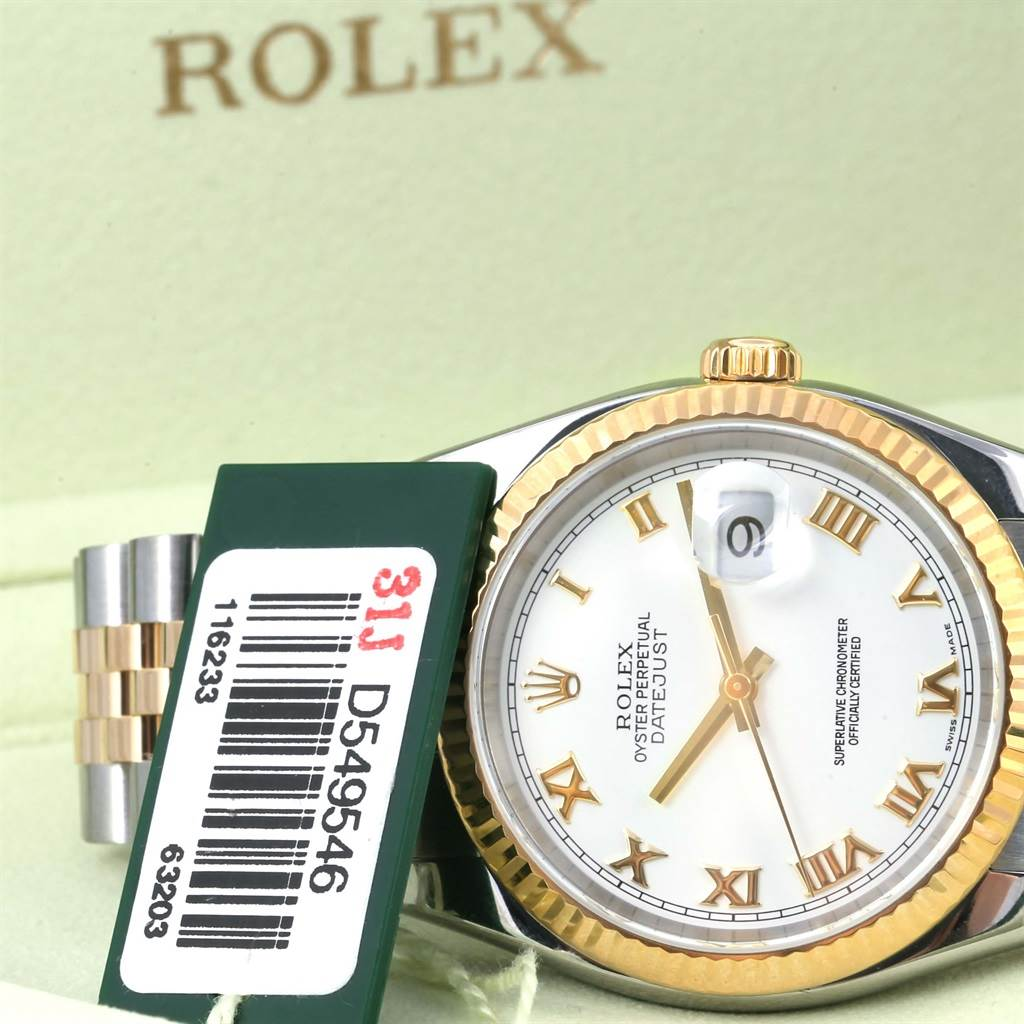 13459 Rolex Datejust Steel 18K Yellow Gold White Roman Dial Watch 116233 SwissWatchExpo