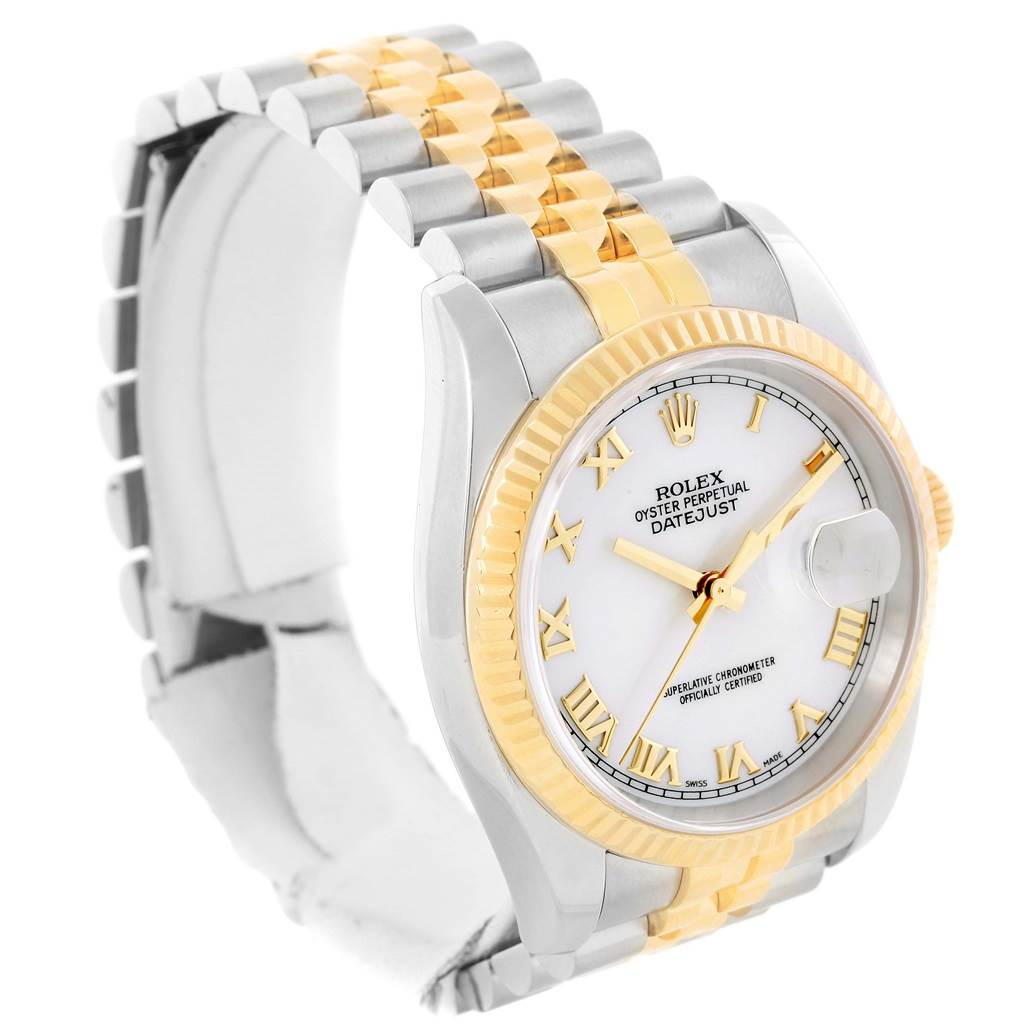 13459 Rolex Datejust Steel 18K Yellow Gold White Roman Dial Watch 116233 SwissWatchExpo