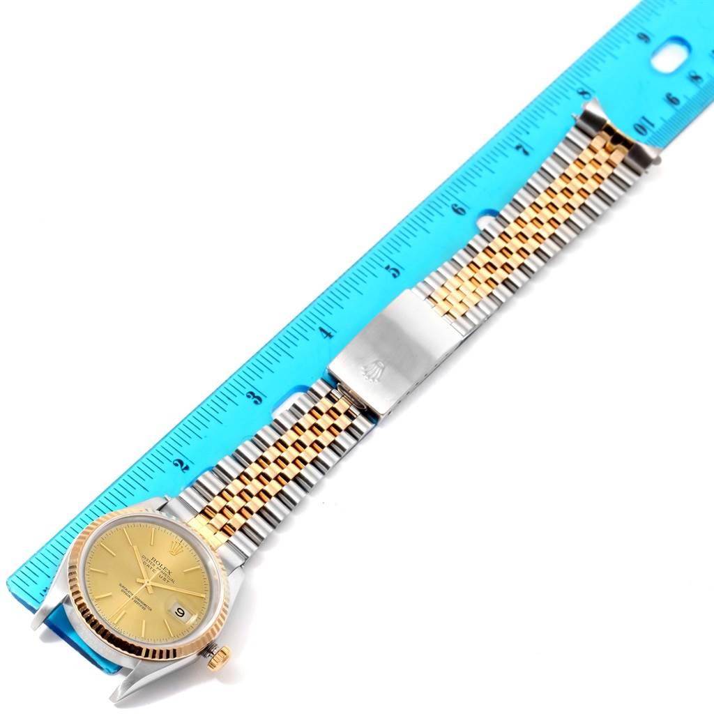11256A Rolex Datejust Steel 18K Yellow Gold Baton Dial Watch 16233 SwissWatchExpo
