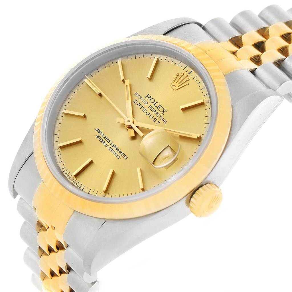 11256A Rolex Datejust Steel 18K Yellow Gold Baton Dial Watch 16233 SwissWatchExpo
