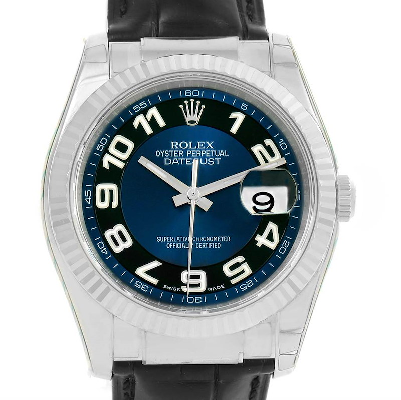 Rolex Datejust 18K White Gold Blue Dial Mens Watch 116139 Box Papers SwissWatchExpo