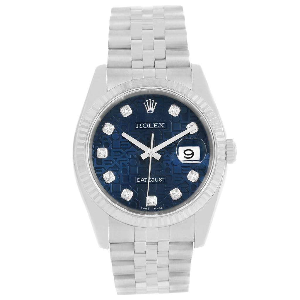 d0b7885725f ... 13975 Rolex Datejust Steel White Gold Blue Jubilee Diamond Dial Watch  116234 SwissWatchExpo ...