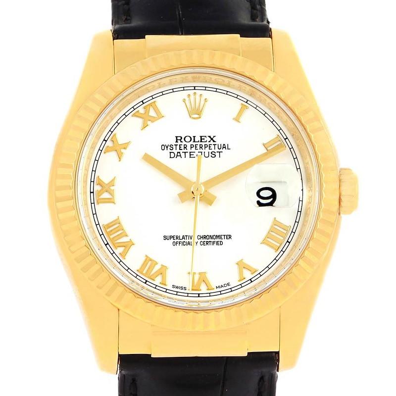 Rolex Datejust 18K Yellow Gold Black Strap Mens Watch 116138 SwissWatchExpo