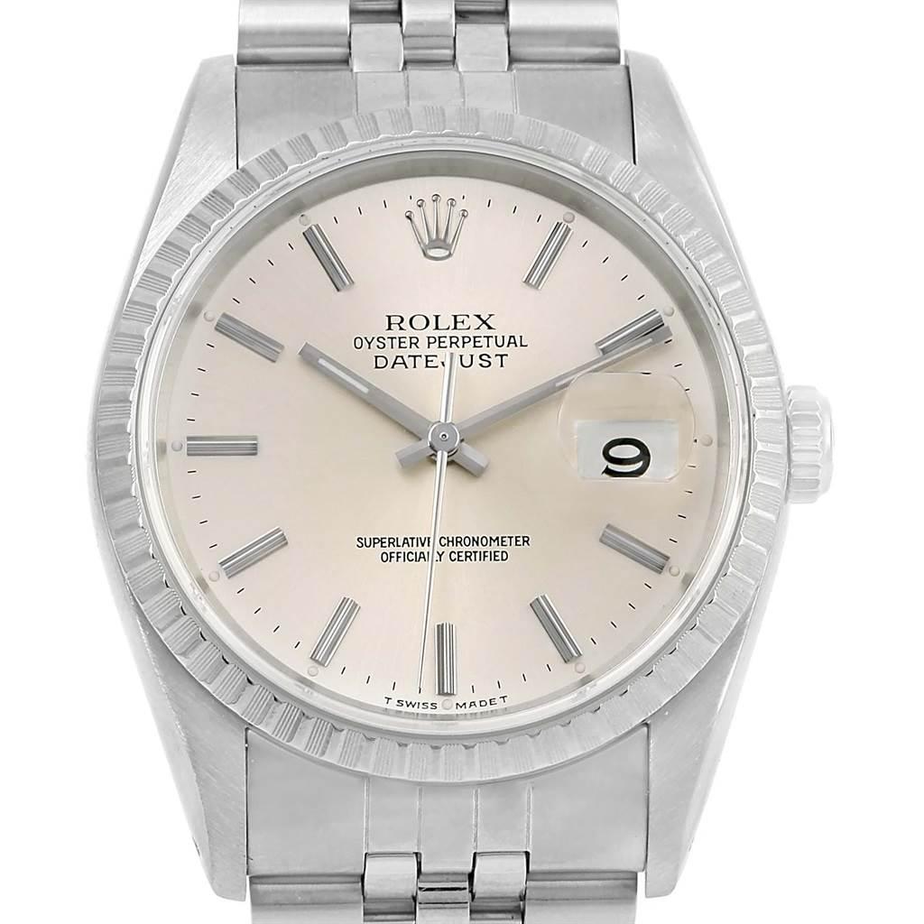 14094 Rolex Datejust Steel Silver Dial Jubilee Bracelet Mens Watch 16220 SwissWatchExpo