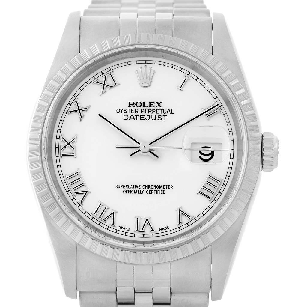 14319 Rolex Datejust Steel White Roman Dial Mens Watch 16220 Box Papers SwissWatchExpo