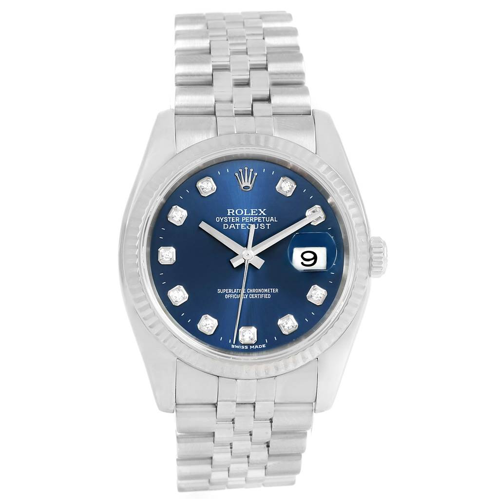 14093 Rolex Datejust Steel White Gold Blue Diamond Dial Mens Watch 116234 SwissWatchExpo