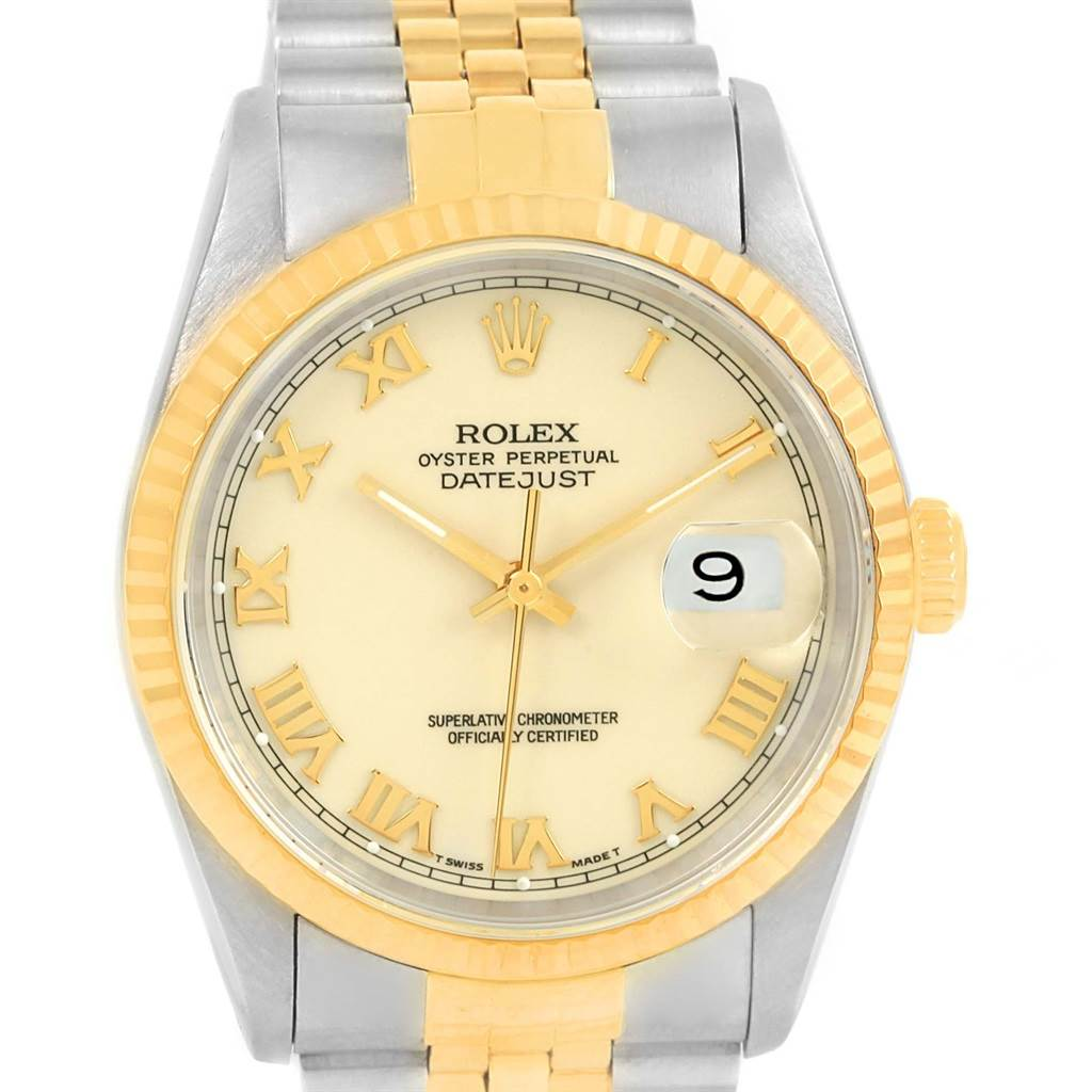14401 Rolex Datejust Steel 18k Yellow Gold Fluted Bezel Mens Watch 16233  SwissWatchExpo