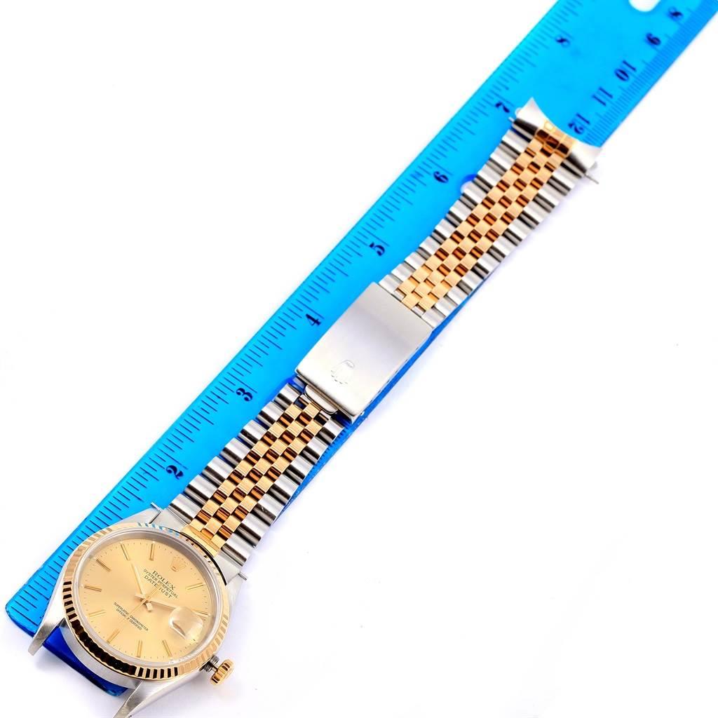 14366 Rolex Datejust Steel 18k Yellow Gold Fluted Bezel Mens Watch 16233 SwissWatchExpo