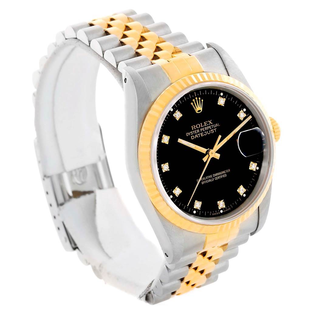 Rolex Datejust Steel Yellow Gold Diamond Dial Unisex Watch 16233 SwissWatchExpo