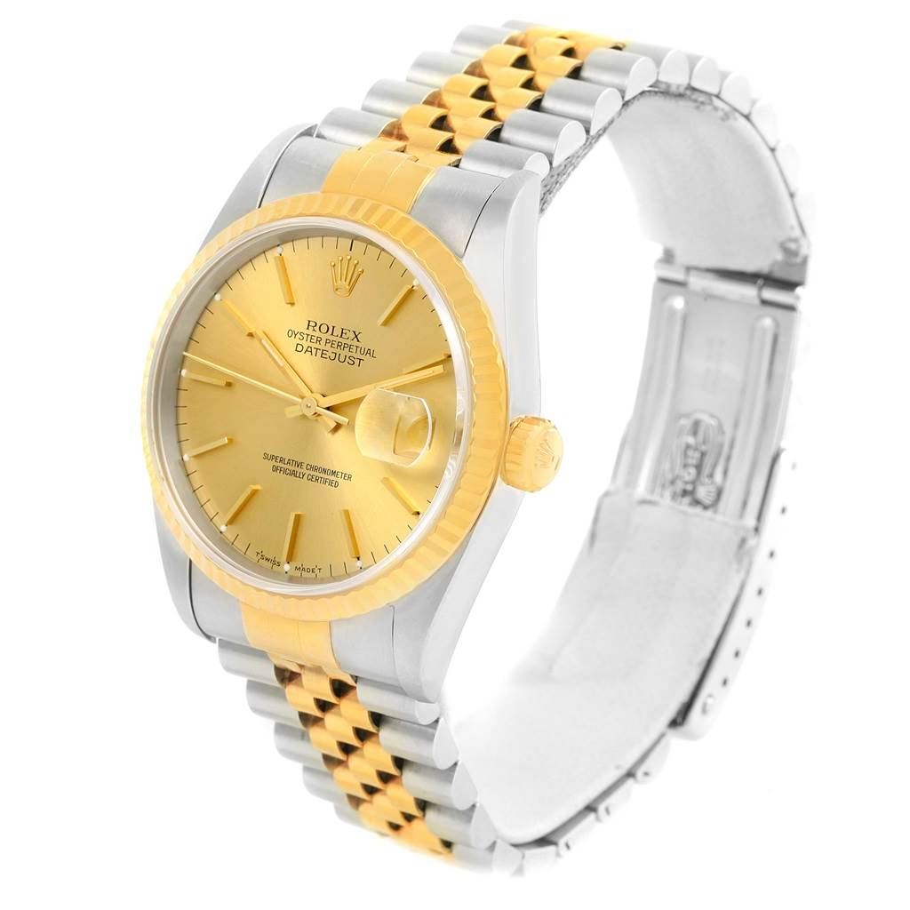 14495 Rolex Datejust Stainless Steel Yellow Gold Mens Watch 16233 Box Papers SwissWatchExpo