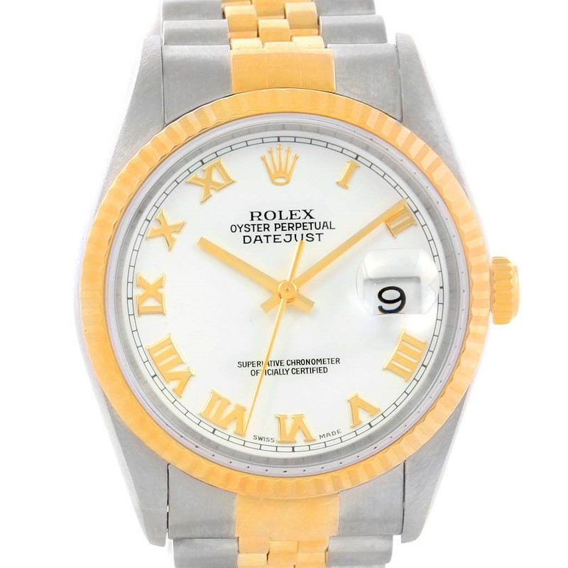 Rolex Datejust Steel Yellow Gold White Dial Automatic Mens Watch 16233 SwissWatchExpo