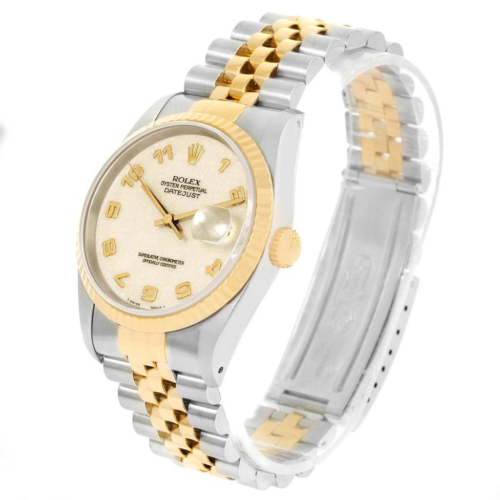 Rolex Datejust Steel Yellow Gold Ivory Jubilee Dial Mens Watch 16233