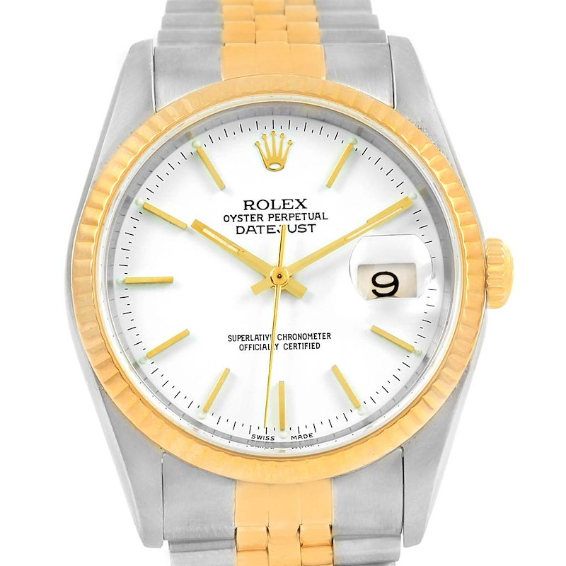 Rolex Datejust Steel Yellow Gold White Baton Dial Mens Watch 16233 SwissWatchExpo