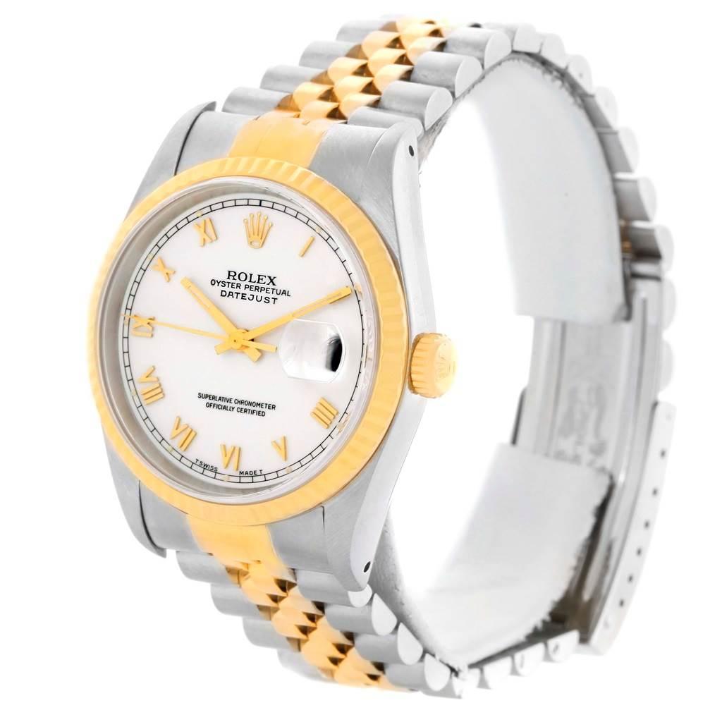 Rolex Datejust Steel Yellow Gold White Roman Dial Mens Watch 16233 SwissWatchExpo
