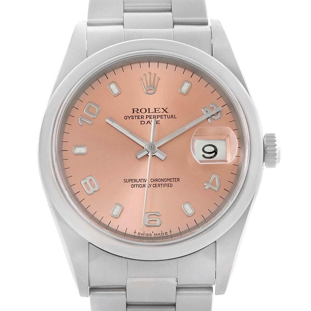 Rolex Date Salmon Dial Stainless Steel Automatic Mens Watch 15200 SwissWatchExpo