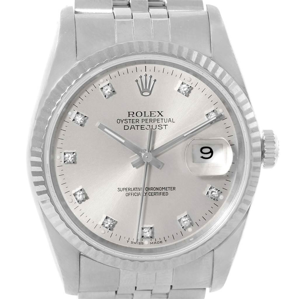 14482 Rolex Datejust Steel White Gold Diamond Dial Unisex Watch 16234 SwissWatchExpo
