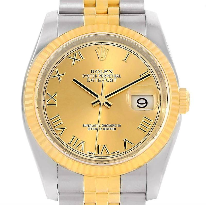 Rolex Datejust Steel Yellow Gold Roman Dial Mens Watch 116233 SwissWatchExpo