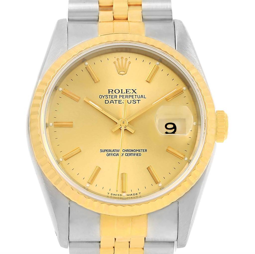 14494S Rolex Datejust Steel 18K Yellow Gold 36mm Unisex Watch 16233 SwissWatchExpo