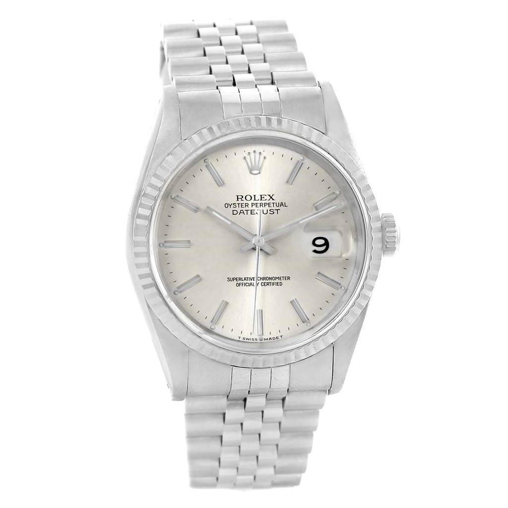 14497 Rolex Datejust Silver Baton Dial Steel White Gold 36mm Watch 16234 SwissWatchExpo