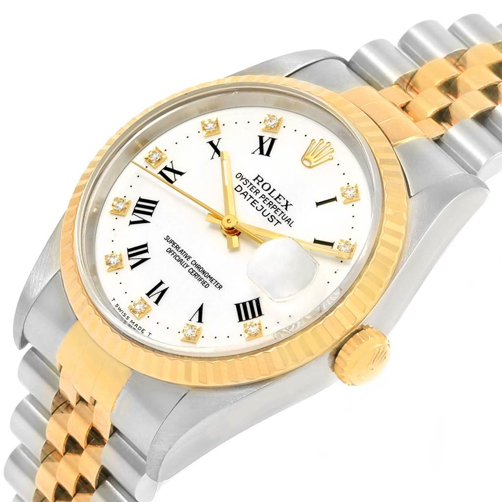Rolex Datejust Steel Yellow Gold White Diamond Dial Mens Watch 16233 SwissWatchExpo