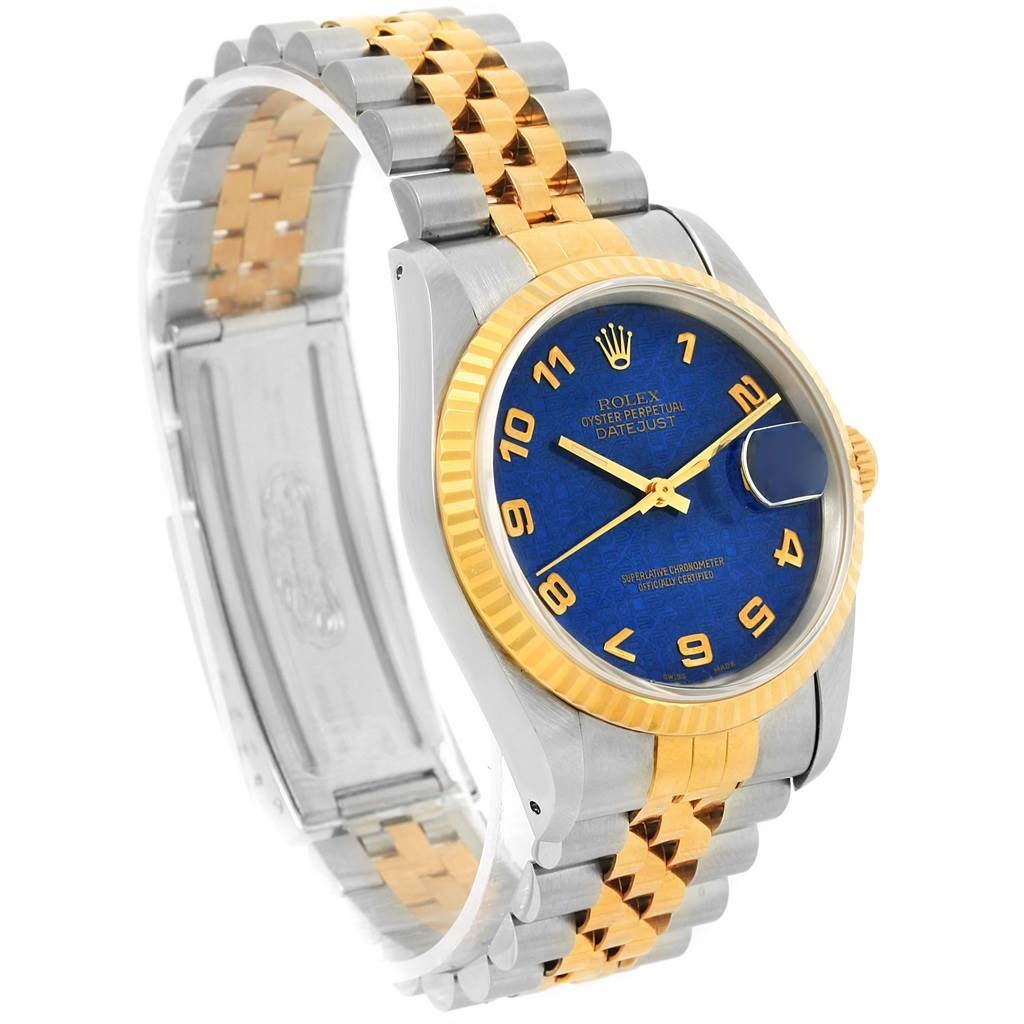 66a9d80b30b9 ... 14928 Rolex Datejust Steel Yellow Gold Blue Anniversary Dial Mens Watch  16233 SwissWatchExpo ...