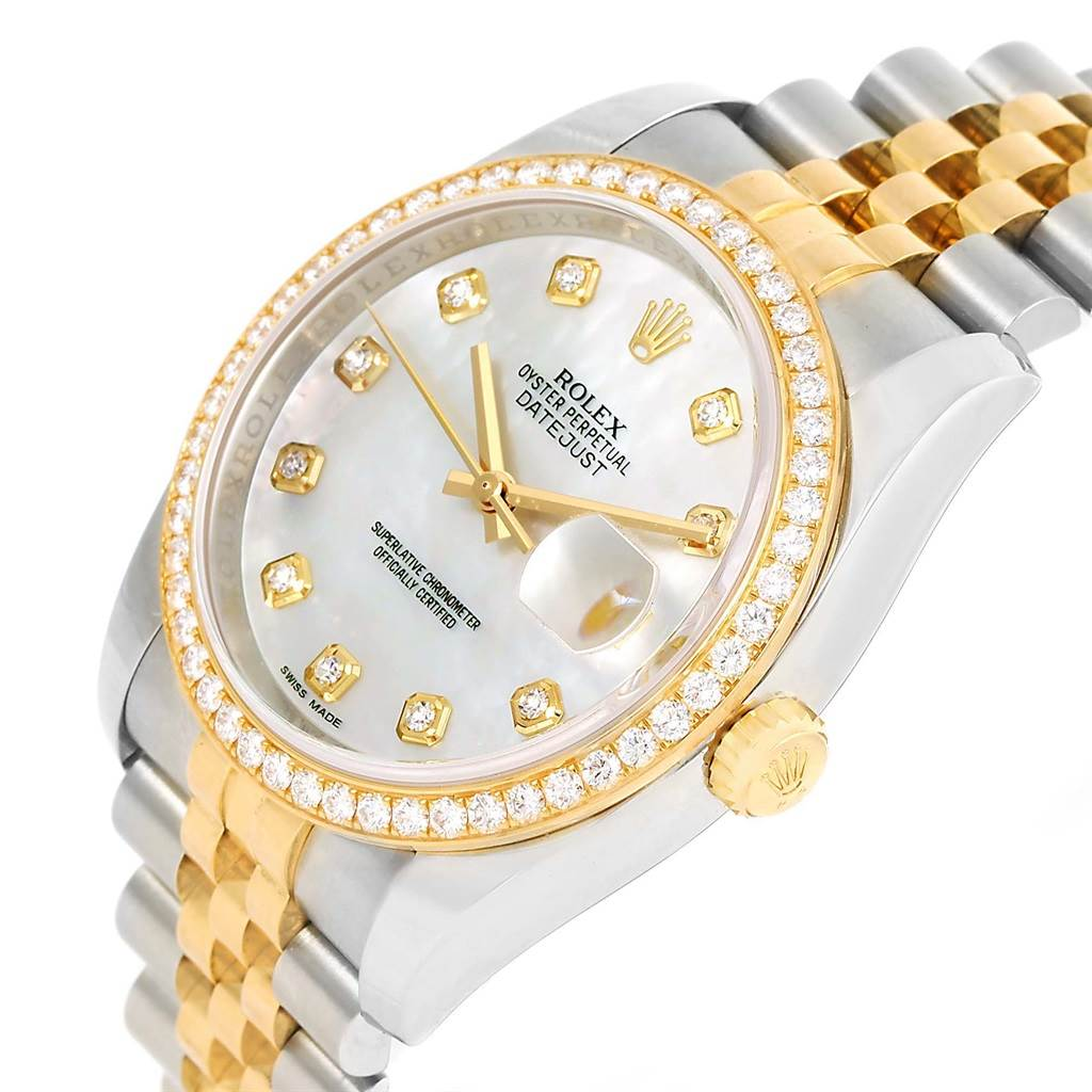 Rolex Datejust Steel Yellow Gold MOP Diamond 36mm Watch 116243 SwissWatchExpo