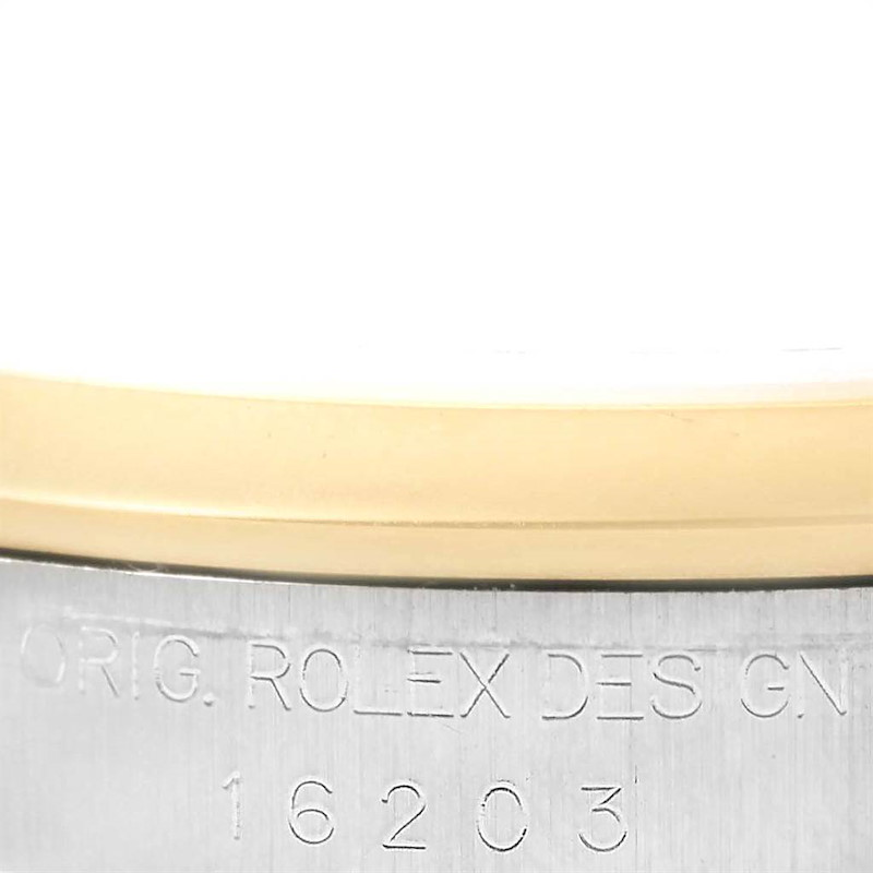 Rolex Datejust Steel Yellow Gold Ivory Pyramid Dial Mens Watch 16203 SwissWatchExpo