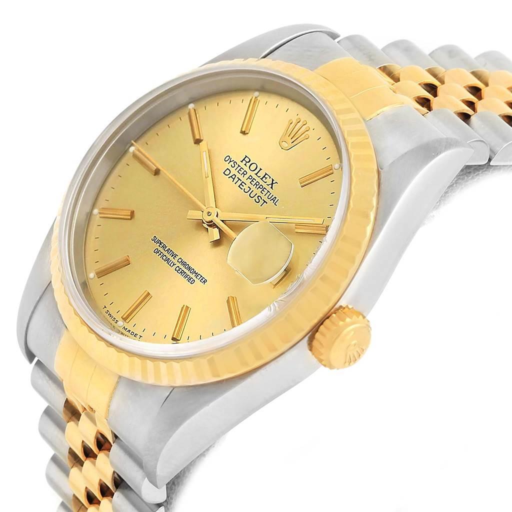 Rolex Datejust 36 Steel 18K Yellow Gold Automatic Unisex Watch 16233 SwissWatchExpo