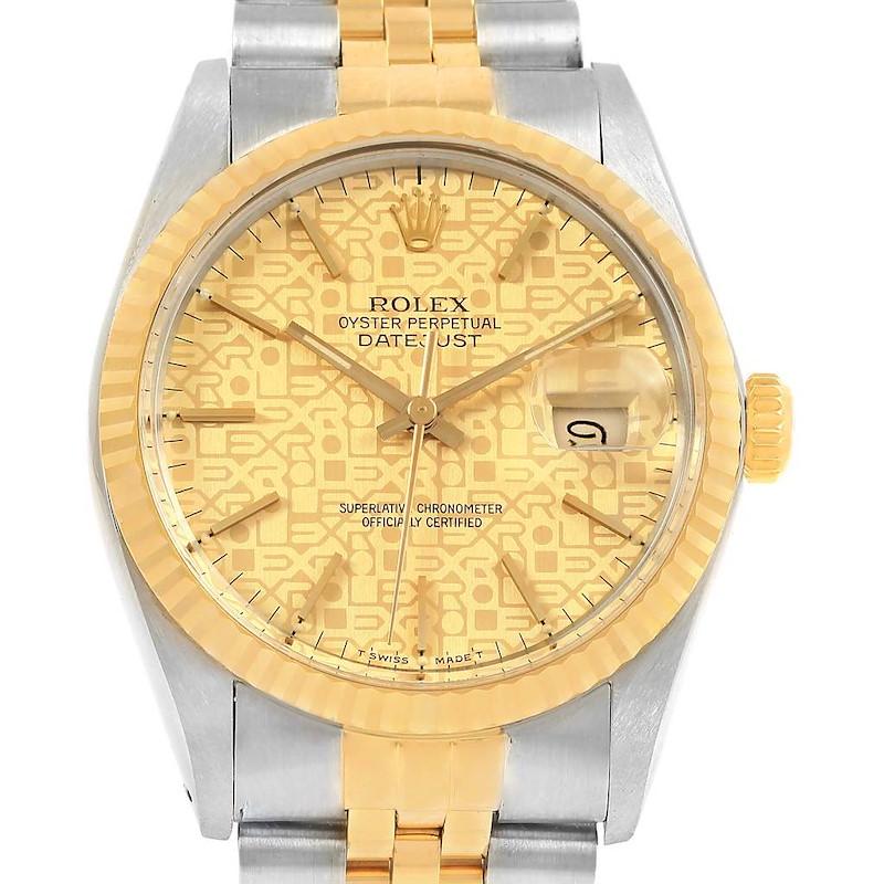 Rolex Datejust Steel Yellow Gold Jubilee Dial Vintage Mens Watch 16013 SwissWatchExpo