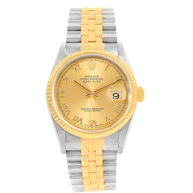 Rolex Datejust Steel Yellow Gold Roman Dial Mens Watch 16233 Box Papers SwissWatchExpo
