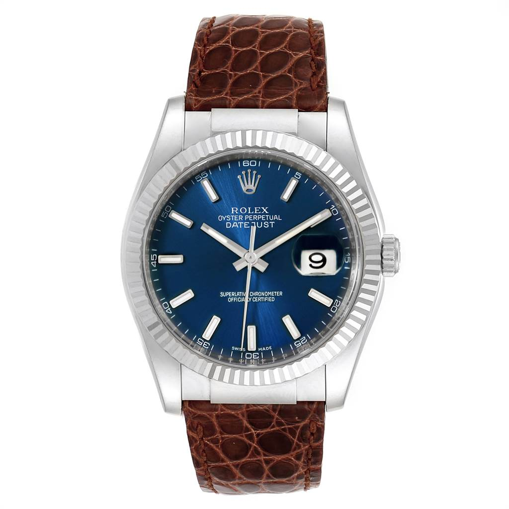 15767 Rolex Datejust 36 White Gold Blue Dial Mens Watch 116139 Box Card SwissWatchExpo