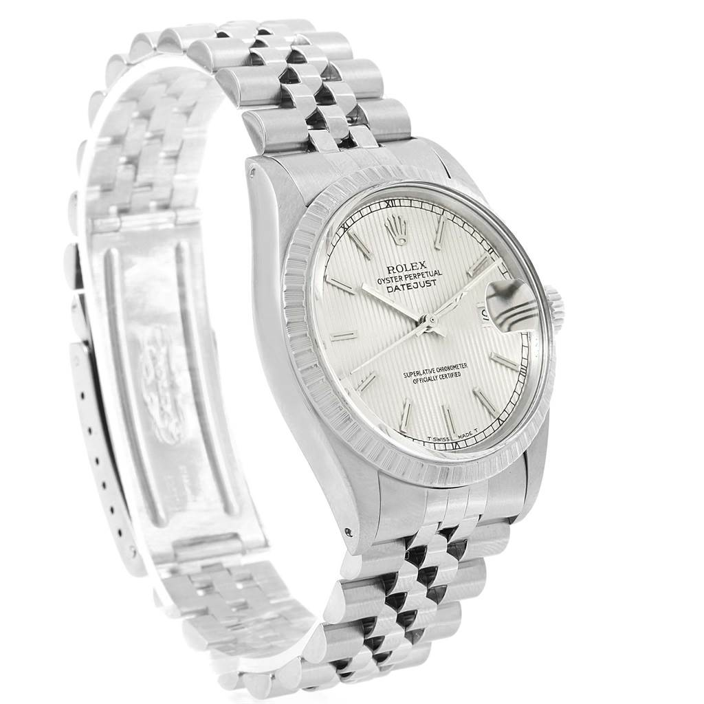 Rolex Datejust 36 Silver Tapestry Dial Steel Mens Watch 16030 SwissWatchExpo