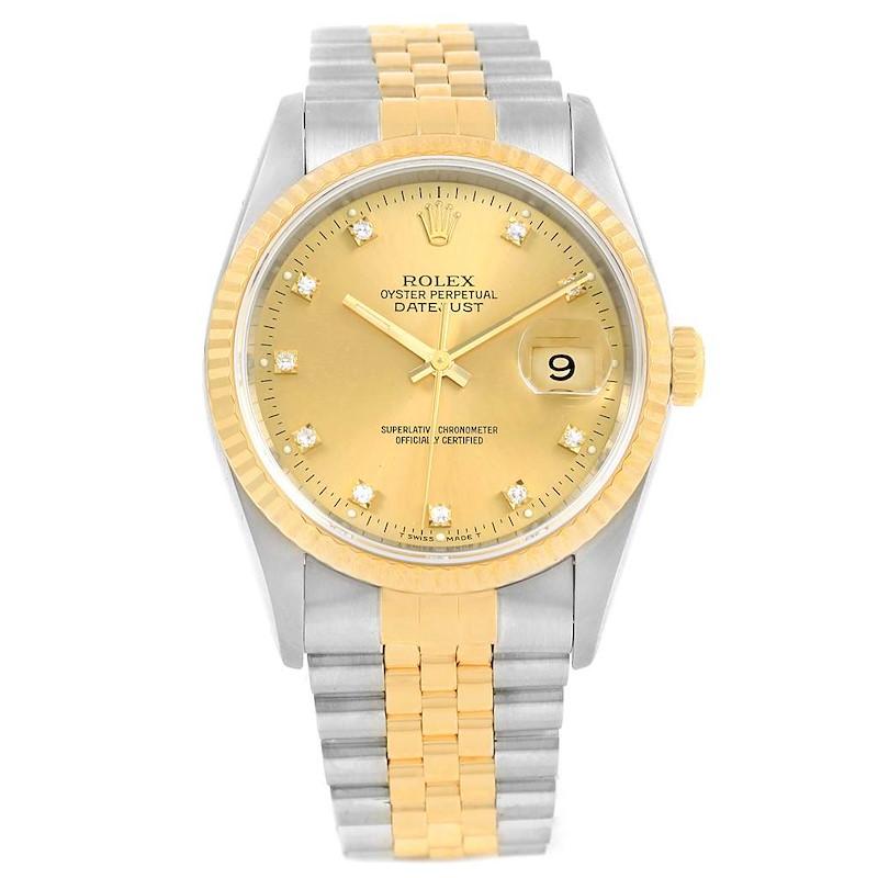 Rolex Datejust 36 Steel Yellow Gold Diamond Dial Unisex Watch 16233 SwissWatchExpo