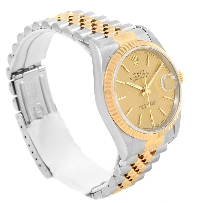 Rolex Datejust Steel Yellow Gold Tapestry Dial Watch 16233 Box Papers SwissWatchExpo