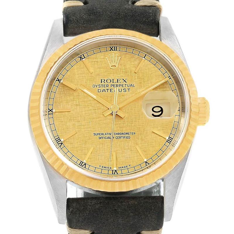 Rolex Datejust Steel Yellow Gold Linen Dial Mens Watch 16233 SwissWatchExpo