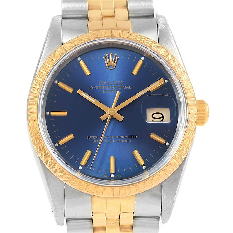 Rolex Date Mens Steel 18k Yellow Gold Blue Dial Mens Watch 15223 SwissWatchExpo