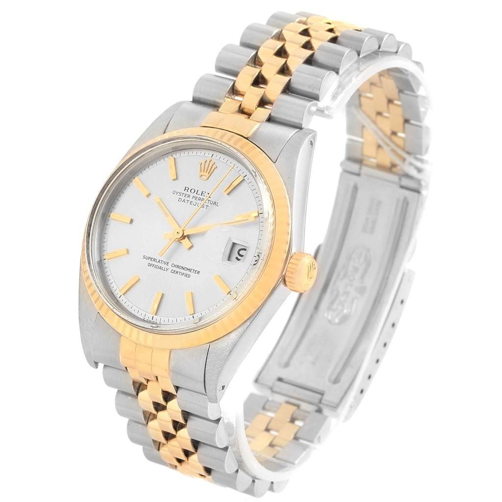 Rolex Datejust Steel Yellow Gold Silver Dial Vintage Mens Watch 1601 SwissWatchExpo