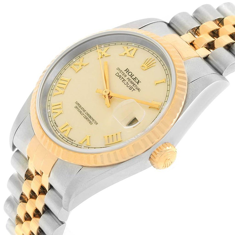 Rolex Datejust Steel Yellow Gold Ivory Roman Dial Mens Watch 16233 SwissWatchExpo