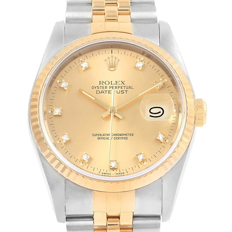 Rolex Datejust 36 Steel 18K Yellow Gold Diamond Unisex Watch 16233 SwissWatchExpo