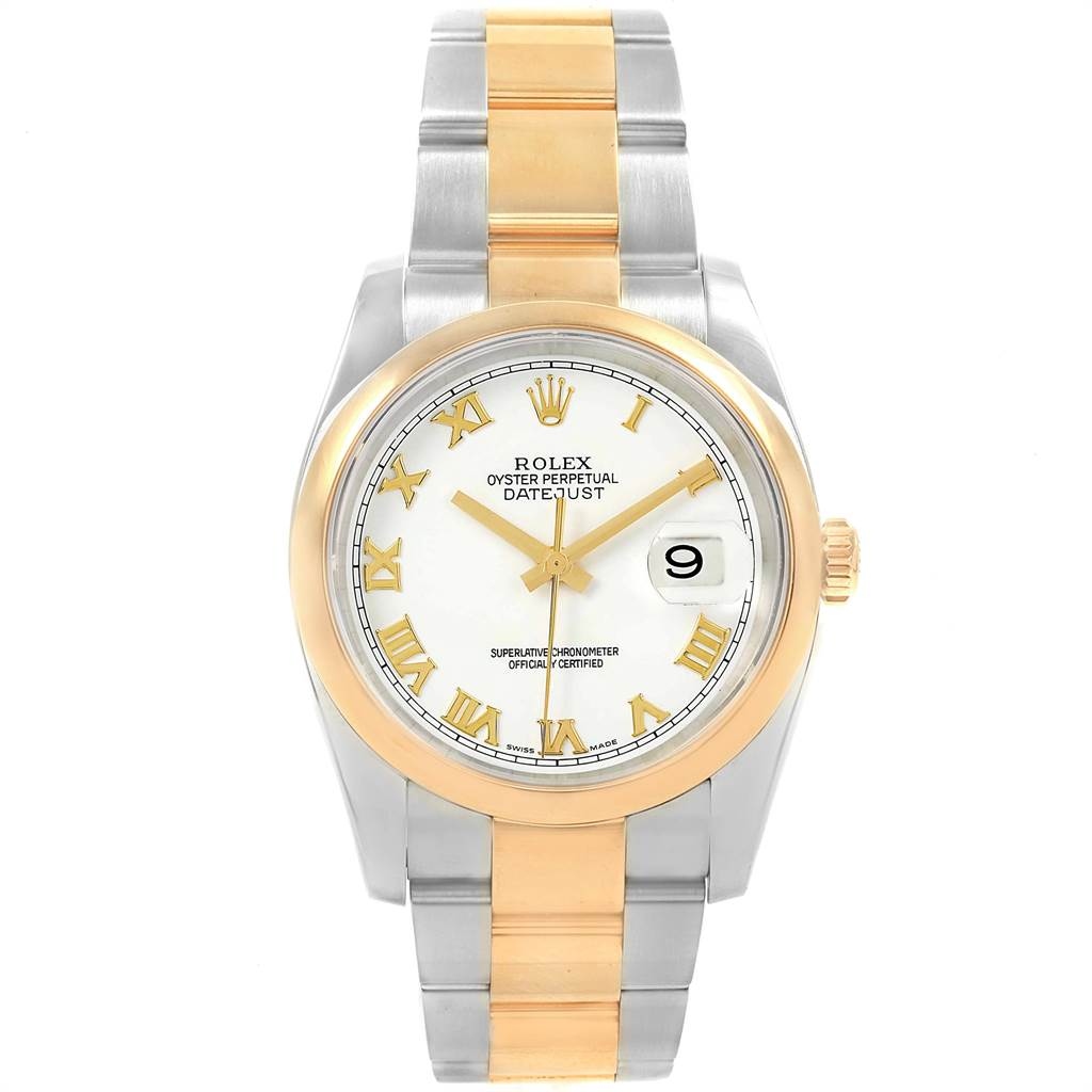 16649 Rolex Datejust 36 Steel Yellow Gold White Roman Dial Mens Watch 116203 SwissWatchExpo