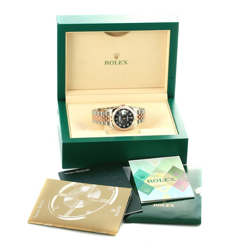 Rolex Datejust 36 Steel Rose Gold Black Dial Watch 116201 Box Papers SwissWatchExpo