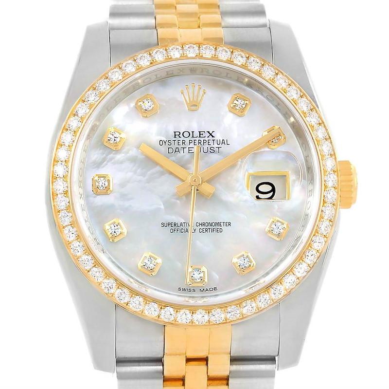 Rolex Datejust Steel Yellow Gold MOP Diamond Unisex Watch 116243 SwissWatchExpo